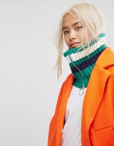 Зеленый шарф-снуд в полоску с молнией ASOS - Зеленый