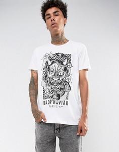 Белая футболка с принтом Black Kaviar - Белый