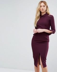 Платье миди с длинными рукавами и разрезом Closet - Фиолетовый