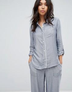 Пижамная рубашка в полоску Abercrombie & Fitch - Синий