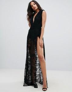 Кружевное платье макси с глубоким вырезом Forever Unique - Черный
