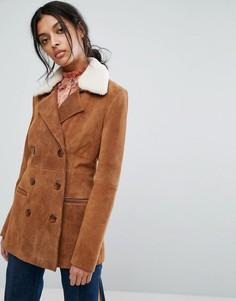 Кожаная куртка с воротником из овчины Gestuz - Коричневый