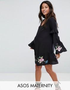 Свободное платье мини с вышивкой ASOS Maternity ULTIMATE - Черный