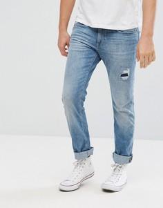 Узкие джинсы с декоративной заплатой Esprit - Синий