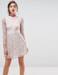 Кружевное платье мини с лентой на воротнике ASOS - Серый