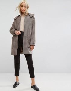 Пальто в клетку с капюшоном и воротником в рубчик ASOS - Мульти