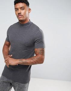 Серая обтягивающая футболка с высоким воротом ASOS - Серый