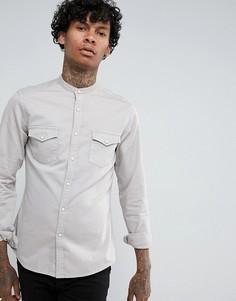 Серая эластичная джинсовая рубашка узкого кроя в стиле вестерн с воротником-стойкой ASOS - Серый