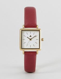 Часы с бордовым ремешком и квадратным циферблатом ASOS - Красный