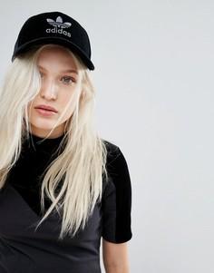 Бархатная кепка с трилистником Adidas Originals - Черный