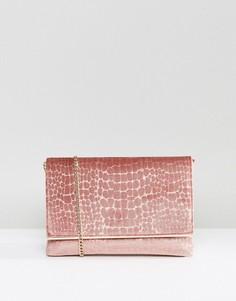 Клатч из бархата с ремешком через плечо Dune - Розовый
