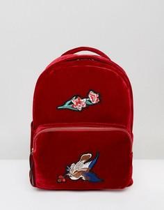 Бархатный рюкзак с вышивкой 7X - Красный