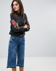 Узкая джинсовая куртка с цветочной вышивкой Kubban - Черный