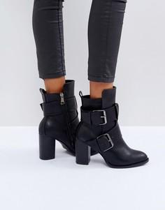Черные ботильоны на каблуке с двойными пряжками Glamorous - Черный