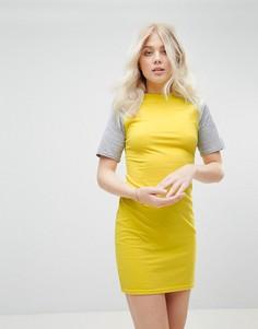 Платье мини с контрастными рукавами Daisy Street - Желтый