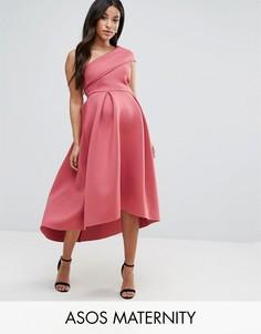 Приталенное платье миди на одно плечо с асимметричным краем ASOS Maternity - Розовый