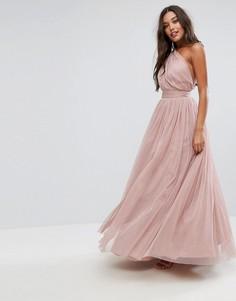 Платье макси на одно плечо из тюля ASOS PREMIUM - Розовый