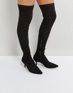 Черные ботфорты на каблуке-рюмочке RAID - Черный