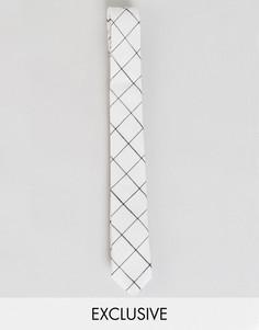 Льняной галстук в клетку Noak - Белый