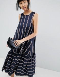 Платье в полоску с асимметричным краем ASOS WHITE - Мульти
