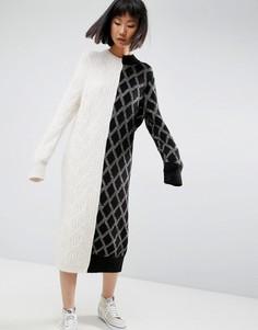 Деконструированное трикотажное платье-джемпер ASOS WHITE - Мульти