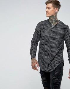 Рубашка классического кроя из вискозы с V-образным вырезом и принтом ASOS - Черный