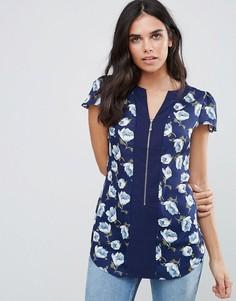 Блузка с цветочным принтом Pussycat London - Синий