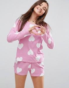 Пижамный комплект с лонгсливом и шортами ASOS - Мульти