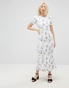 Белое чайное платье макси с цветочным принтом ASOS City - Мульти