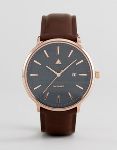 Часы с темно-серым кожаным ремешком и золотистым тиснением ASOS - Коричневый