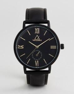 Часы с черным ремешком из искусственной кожи и золотистой отделкой ASOS - Черный