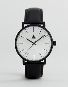 Часы с черным матовым корпусом и кожаным ремешком ASOS - Черный