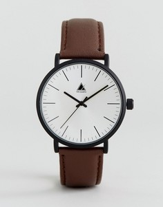 Часы с кожаным коричневым ремешком и черным матовым корпусом ASOS - Коричневый