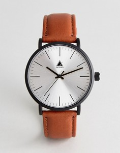 Часы со светло-коричневым кожаным ремешком и черным матовым корпусом ASOS - Рыжий