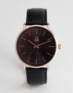 Часы с розово-золотистым корпусом и черным кожаным ремешком ASOS - Черный