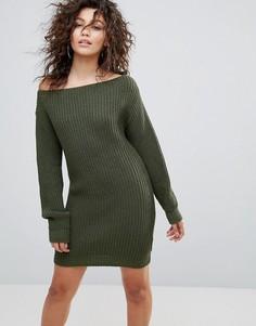 Вязаное платье цвета хаки с широким вырезом Lasula - Зеленый