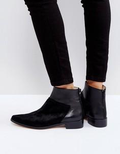 Черные кожаные полусапожки на плоской подошве Intentionally Blank Dallas - Черный
