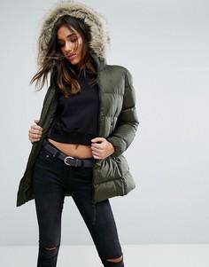 Дутая куртка с искусственным мехом на капюшоне G-Star Whistler - Серый