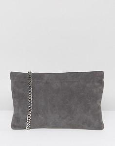 Серая замшевая сумка через плечо с ремешком-цепочкой Vagabond - Серый