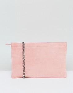 Розовая замшевая сумка с ремешком-цепочкой через плечо Vagabond - Розовый