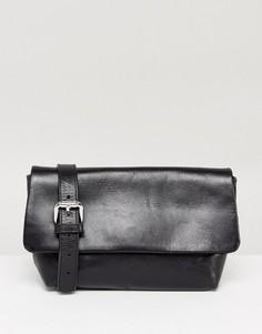 Черная кожаная сумка-кошелек на пояс Vagabond - Черный
