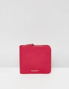 Светло-вишневый кожаный кошелек на молнии Vagabond - Розовый