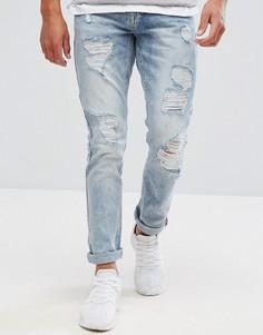 Выбеленные супероблегающие джинсы с состаренным эффектом Brooklyns Own - Синий