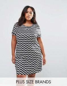 Платье-туника с шевронным принтом Yumi Plus - Черный