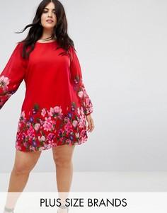 Цельнокройное платье с цветочным принтом и длинными рукавами Yumi Plus - Красный