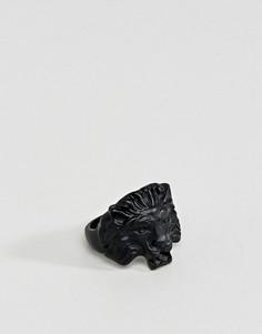 Матовое кольцо с головой льва ASOS - Черный