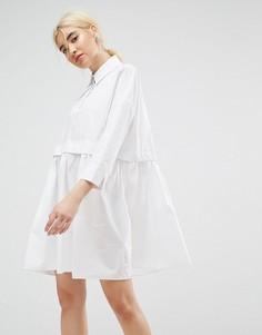Свободное хлопковое платье-рубашка мини ASOS - Белый