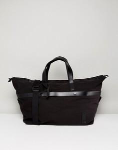 Парусиновая дорожная сумка с кожаной отделкой Kiomi - Черный