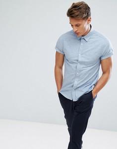 Оксфордская приталенная рубашка с короткими рукавами Burton Menswear - Синий