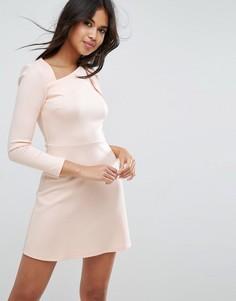 Платье мини с одним рукавом и бантом на плече ASOS - Розовый